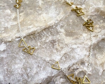 brass TRIANGLES sterling silver layering necklace