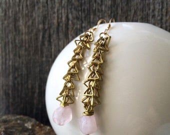 brass triangle chain and pale pink quartz earrings