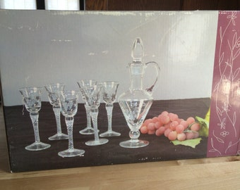 Antique Grape Old World Hand Etched Cordial Set with Decanter