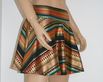 Aztec Gold Foil printtwirl skirt, rave skirt, cheerleader, soft spandex short skirt, free shipping in Australia