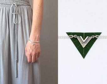 Triangle bracelet minimalist sterling silver jewelry