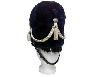 Vintage Majorette Hat - Vintage Marching Band Hat, Drum Major Uniform, Parade, 1970's Navy Blue Fur Hat, Drumline, Drum Corp, Pep Rally