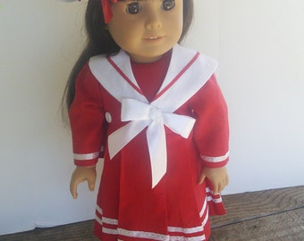 "American Girl 18"" doll  clothes - Red Sailor Dress with White Beret"