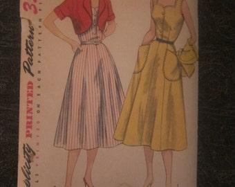 50s Vintage Women's Sewing Dress Pattern Simplicity Size 18