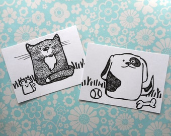 ACEO, Cat, Dog, Set of Two, ATC, Art Trading Card, Original Drawing, Ink, Kid Friendly