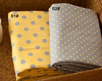 Twill Cotton Fabric for craft, Yellow Grey Polka Dots Pattern Style, Decor Fabric 1/2 Yard (QT614)
