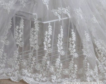 1 yard White eyelashes paragraph lace fabric, Embroidery,Wedding,White Color,Polyester Mesh,Cotton fabric (W137)
