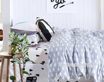Cotton Twill Fabric, Kids Sheet Quilting fabirc,  Christmas Tree Cartoon fabric, Cartoon Cotton Fabric 1/2 yard (QT675)