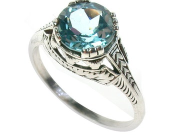 Platinum Blue Topaz Ring,  PT900, Art Deco Engagement Ring, Women's Blue Topaz Ring, Vintage Platinum Ring, Anniversary, Custom R121