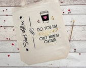 Free shipping, Love Coffee Quote Tote Bag, Stars Hollow, Do you like coffee? Only with my oxygen. Gold, black, pink glitter, coffee cup