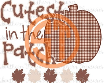 Cutest Pumpkin in the Patch DIY Fall Pumpkin printed iron on heat transfer with no monogram, NO SHIRT included can add name or monogram