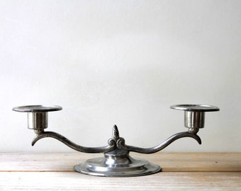 New England pewter vintage candle holder / autumn table decor / rustic farm house cottage cabin decor / silver gray candelabra / metal decor