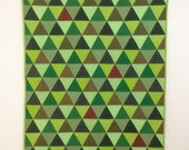 Green Baby Quilt - Modern Cot Quilt - Equilateral Triangles
