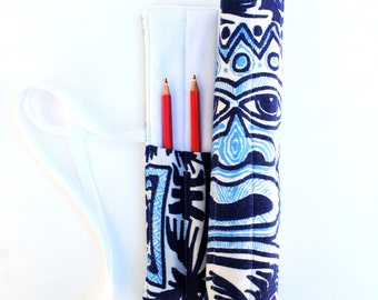 Blue and White Pencil Roll Made With Upcycled Fabrics  - Holds 12 Pencils / Crayons / Brushes / Pens
