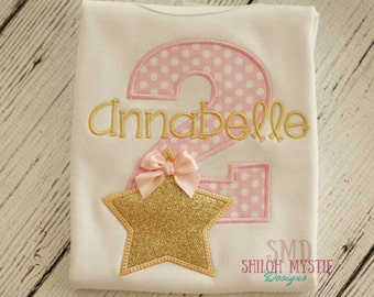 Pink and Gold Star Birthday Shirt Onesie-Pink star birthday shirt-Gold star birthday onesie-star birthday party