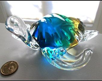 Sale, Vintage ART Glass, Turtle Sculpture, Amber, Greens, Blues, Teals, Tortoise