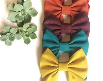sailor bow, mustard, tea, purple, red, orange, hair bow, hair clip