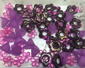 67 Purple and Pink Acrlic Floral Beads for Sale. Flower Beads. Jewelry Beading Supplies. Arts and Crafts. Violet. Lavender. Carnation Pink.
