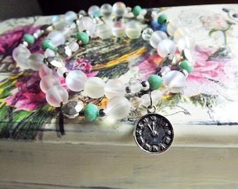 Vintage Clock Necklace, White Bead necklace, Moonstone like, Beaded Jewelry, For woman, Clock Pendant Bead necklace