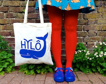Wales Tote Bag, Whale from Wales, Welsh bag design, blue whale tote, screen print tote bag, handprinted, Cymru tote bag, funny blue tote bag