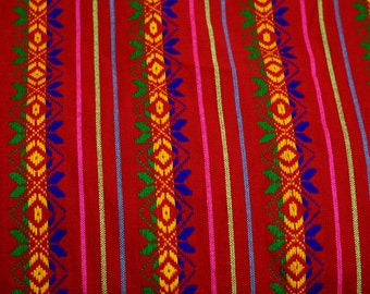 """Mexican Fabric Bright Red 31"""" width by one yard."""