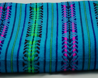 """Mexican Fabric light Blue and striped 31"""" width by one yard."""