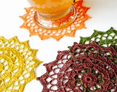 Doily Coaster | Set of 4 in Linen | Placemat / Doily / Fall Autumn Home Decoration / Crochet Applique by ArtisticNeedleWork