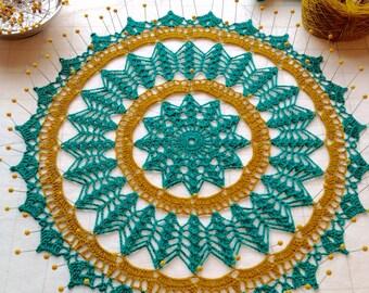 Linen Turquoise Doily Table Linen  Placemat Centerpiece Doily  Home Decoration  Crochet Fiber Art Wedding Gift
