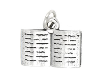 Sterling Silver Open Book and Bookworm Charm