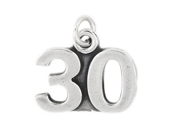 Sterling Silver Bold Number 30 Thirty years Charm