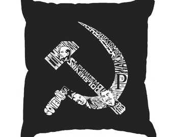 Throw Pillow Cover - Word Art - Soviet Hammer And Sickle