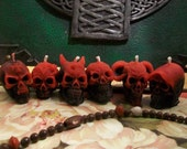 Set of 6 LIttle Beeswax Skull Candles Each Is Different Black & Red
