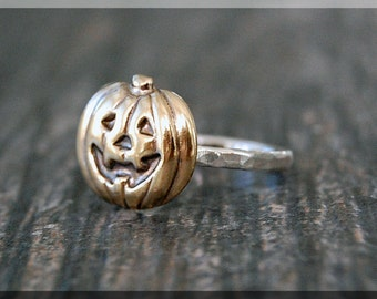 Jack O Lantern Stacking Ring, Sterling Silver and Brass ring, Stacking Ring, Halloween Ring, Brass Pumpkin Stacking Ring, Gold Pumpkin Ring