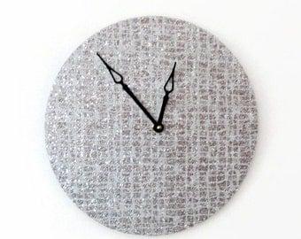 Glitter Wall Clock,  Silver Glitter Clock,  Unique Wall Clock,  Home Decor, Home and Living, Decor & Housewares