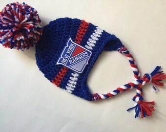New York rangers hat with ear flaps hockey cap ny rangers