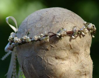 Bridal Hair Crown Halo Pearls Roses