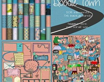Doodle Town Digital Scrapbook Kit