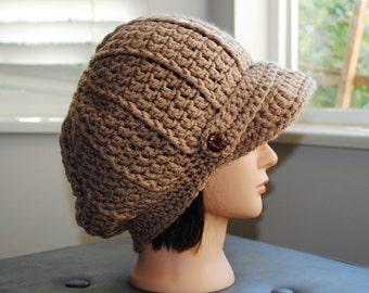 camel crochet adult newsboy hat