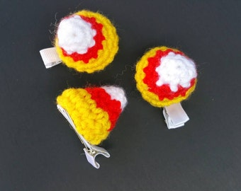 Crochet Candy Corn Hair Clips (set of 2) - READY TO SHIP