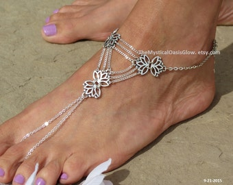 Chain Barefoot Sandals, Chain Slave Anklet, PAIR, 2pcs, SIZED Anklets, Slave Ankle Bracelet, Toe Ring, Lotus Flower Foot Jewelry, Silver