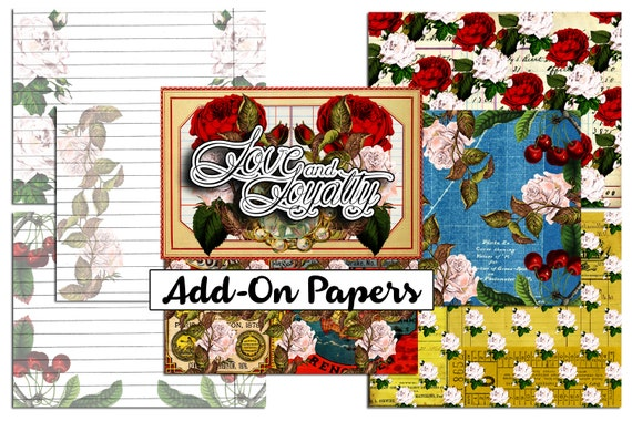 Printable Journal Kit - Love & Loyalty - Add on - 7 page Instant Download -  collage sheets, junk journal kit, envelopes, printable ephemera