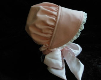 Precious Pink Corduroy Baby Bonnet all baby sizes up to 24 months