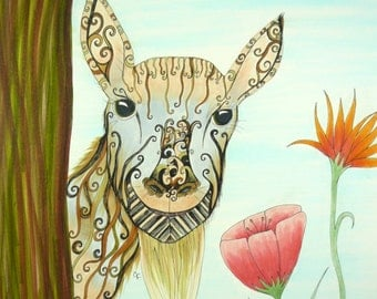 Colorful original pen and ink drawing, Curious goat with flowers. Fantasy art. wood frame included
