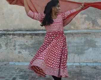Anarkali Bohemian Hippie Chic Dress with Matching Scarf - Custom Made