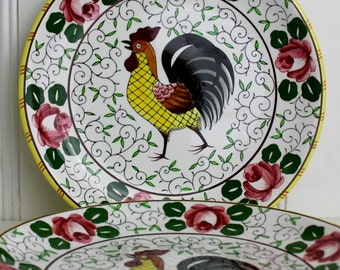 Roosters and Roses Large Dinner Plate Ucago Py Japan Folk Art Country Shabby Chic Cottage Decor