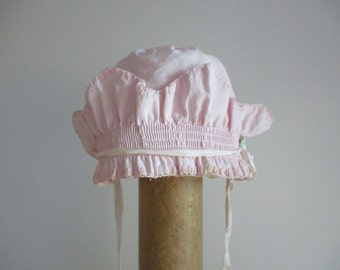 Mid Century pink baby bonnet vintage ruffles children clothing crown baby hat design satin