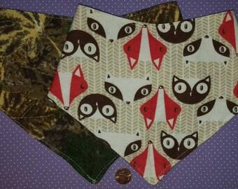 Boy set (foxes & camo) or Girl set (2 floral) of bandana dribble bibs with adjustable snaps. handkerchief, rose, bird, flower, owl, coon