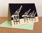 Single Port of Oakland Cranes Linocut Card in Black