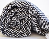 Turkish Towel Cotton Peshtemal towel in black and white hand loomed soft in rice pattern