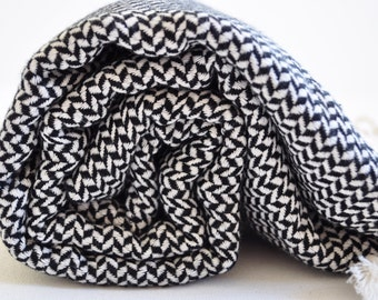 Turkish Bath Towel Cotton Peshtemal towel in black and white hand loomed soft in rice pattern genuine handloomed